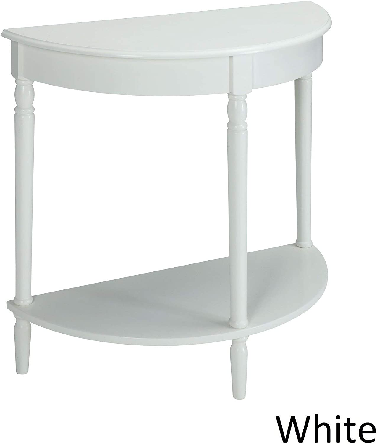 White Semi Circle Demilune Table For Small Hallway Entryway Space Wooden Half Moon Sturdy Console Tables Amazon Co Uk Kitchen Home