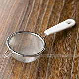Astra Gourmet 3-Inch Mini Fine Mesh Food Strainer with White Plastic Handle