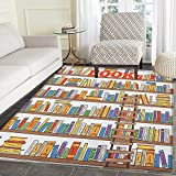 Modern Area Rug Carpet Library Bookshelf with A Ladder School Education Campus Life Caricature Illustration Living Dining Room Bedroom Hallway Office Carpet 4'x5' Multicolor