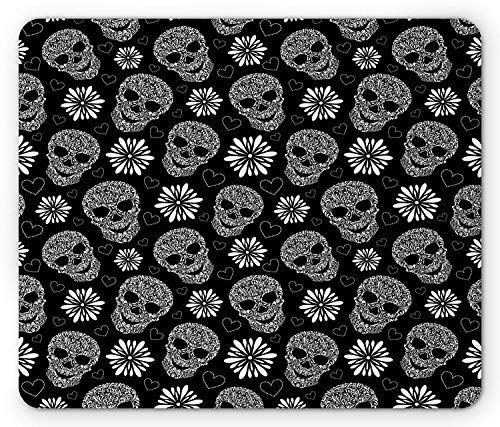 Skull Mouse Pad, Monochrome Heart Shapes with Floral Composition Gothic Inspirations Halloween, Standard Size Rectangle Non-Slip Rubber Mousepad, Black and White