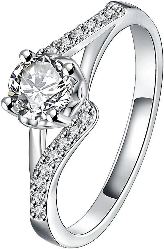 YXYP anillo de compromiso de moda elegante anillo de mujer joyería romántico anillo de regalo para mujeres y hombres anillo de boda