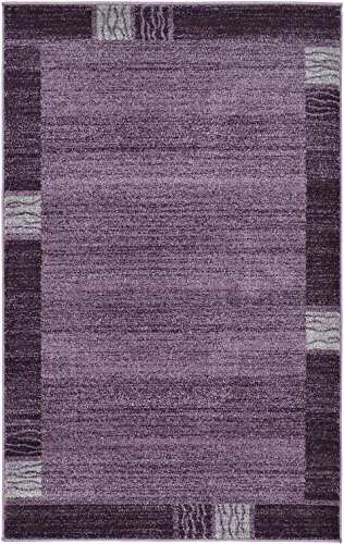 Over-dyed Modern Vintage Rugs Purple 3' 3 x 5' 3 FT Palma Collection Area Rug - Perfect for any - Violet Gray Design