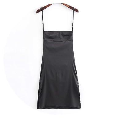 8858ae66448 Women Sexy Satin Slip Midi Dress with Side Split Strappy Back Satin Cami  Dress Thin Fabric