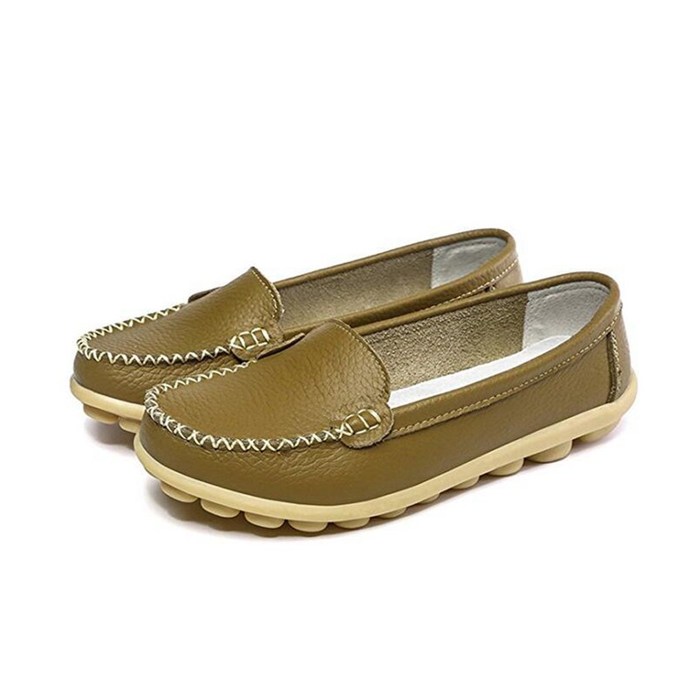 vaganana Women's Soft Comfort Leather Loafers Slip On Driving Walking Flats Shoes