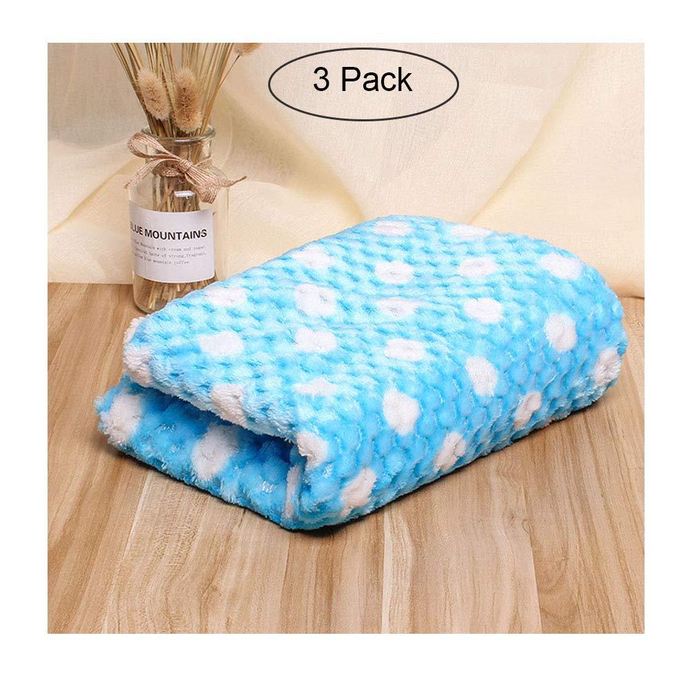 bluee XXLPet Dog Blanket, Fabric Soft And Cute Warm Dot Print Blanket Washable For Cats And Dogs  3 Pack