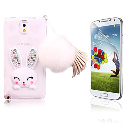 brand new bb3cc 4000c Bonice Galaxy Note 3 Case Cartoon Rabbit Bling Diamond Crystal Soft TPU  Cute Ear Stand Silicone Case with Hairball Pompon Wristlet For Samsung  Galaxy ...