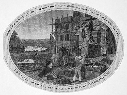 Poor Richard Illustrated Npanel From An Engraving C1800 For Benjamin FranklinS Poor Richard Illustrated With The Motto Early To Bed And Early To Rise Makes A Man Healthy Wealthy And Wise Poster Print (Benjamin Franklin Early To Bed Early To Rise)