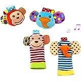 Upper 4PCS Sonajero para Bebés Sonajeros para Muñecas y Calcetines para Pies Calcetines para Sonajeros Suaves para Bebés Juguetes para Bebés (Mono y Elefante)