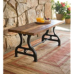 Plow & Hearth 62A10 Birmingham Reclaimed Wood Bench with Iron Base