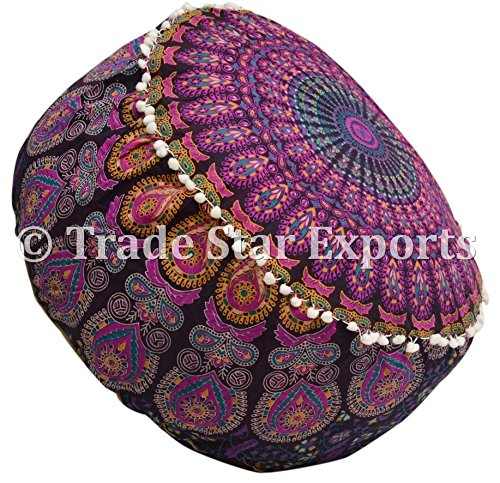 Trade Star Exports Indian Mandala Ottoman Pouf Cover, Decorative Footstool, Round Floor Pouf, Seating Pouf Ottoman Cover, Ethnic Pouf Cushions, Bohemian Decor Pouf - 707 Furniture