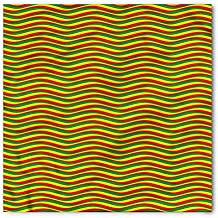 Rasta Bandana by Ambesonne, Vivid Colors Ethiopian African Flag Colors in Wavy Style Stripes Image, Printed Unisex Bandana Head and Neck Tie Scarf Headband, 22 X 22 Inches, Marigold Green and Red