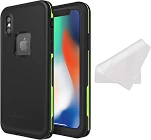 LifeProof FRE Series Waterproof Case for iPhone X (ONLY) with Cleaning Cloth - Bulk Packaging - Night LITE (Black/Lime)