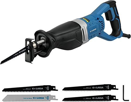 Reciprocating Saw, GALAXIA 9 Amps Professional Corded Sabre Saw with 4Pcs Blades 1-1 8 28mm Stroke Length, 0-2800SPM and 6 Max. cutting Depth in Wood and Metal Cutting