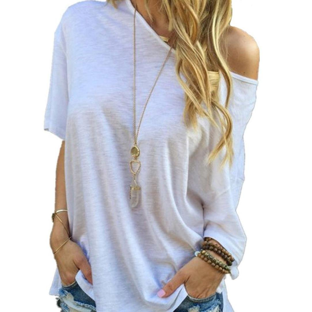 Exclusive Fashion Women Summer Short Sleeve Blouse, Ninasill New Casual Tops T-Shirt White Oblique Shoulder Blouse (S) z951003c