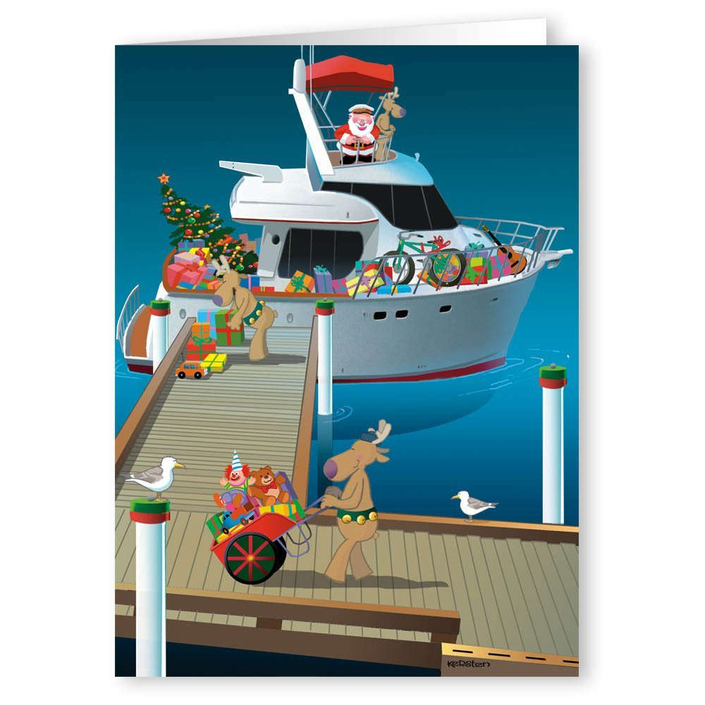 Amazon.com: Santa\'s Speedboat Christmas Card - Boating 18 Cards ...