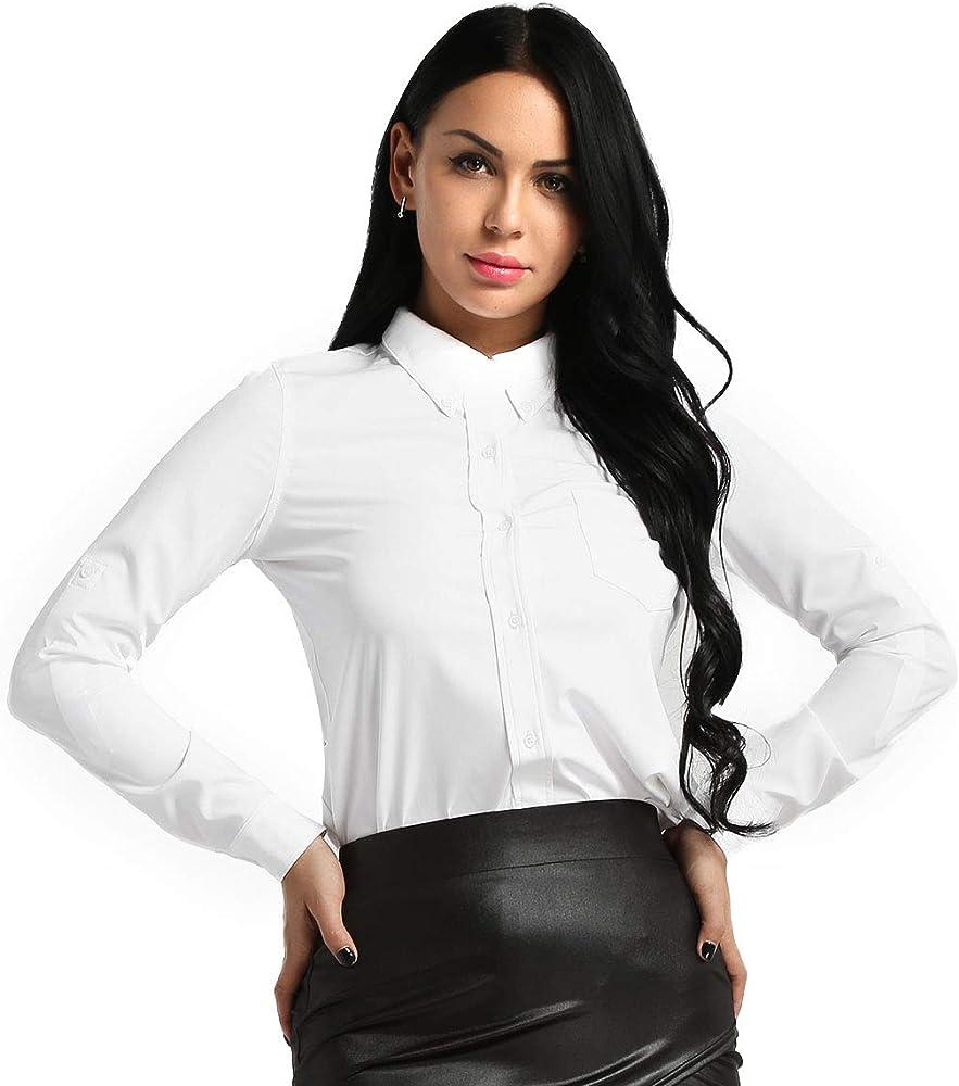 YiZYiF Camisa Básica Mujer Blusa de Vestir Camiseta Elástica Diseño Clásico Trabajo, Reunion, Ceremonia, Boda, Fiesta, Ocasiones Formales Blanco S: Amazon.es: Ropa y accesorios