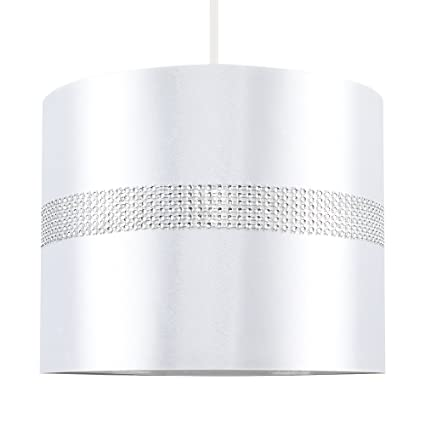 MiniSun – Decorativa pantalla cilíndrica para lámpara de techo o mesa – De efecto diamante, polycotton y blanca