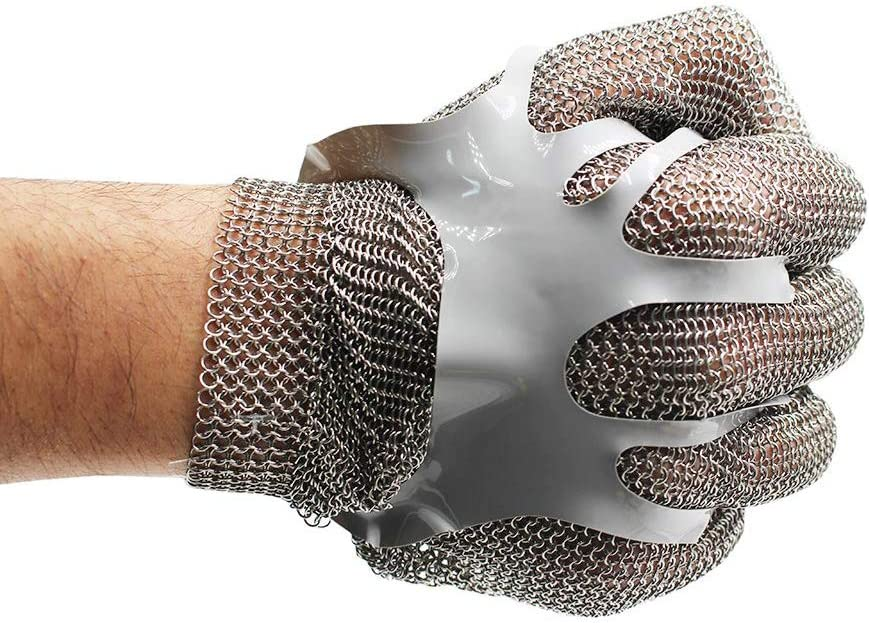 Chainmail Cut Resistant Stainless Steel Metal Mesh Glove for Food Handling, Meat Processing Kitchen Butchers Slicing Chopping Restaurant Work Safety (L)