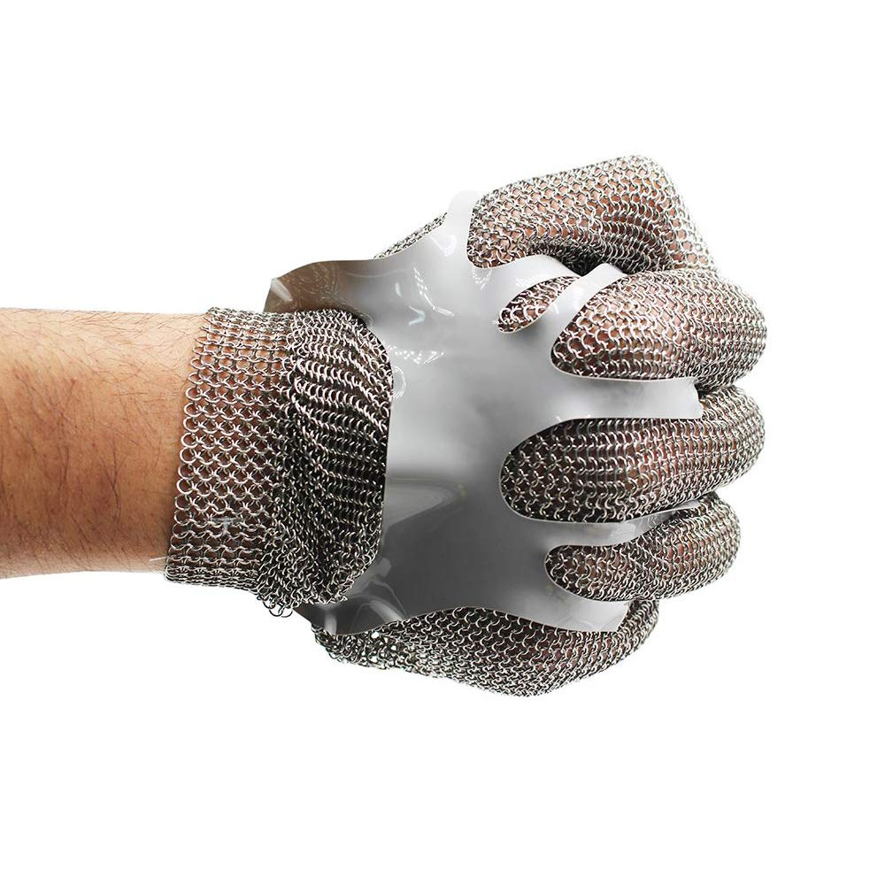 Chainmail Cut Resistant Stainless Steel Metal Mesh Gloves for Food Handling, Meat Processing Kitchen Butchers Slicing Chopping Restaurant Work Safety (Medium)