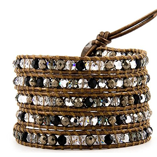 ici Mode Agate-quartz Pierre Serpent Cordon Cuir 5 Wrap Bracelet