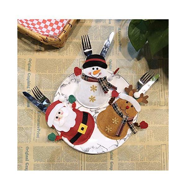 Hopeas 6pcs Portaposate Natalizie,Decorazione per Tavolo di Natale Babbo Pupazzo di Neve alci Natale Tasche Posate 6 spesavip