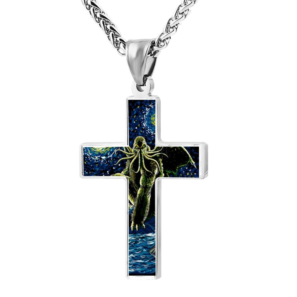 Kenlove87 Patriotic Cross Night Of Cthulhu Religious Lord'S Zinc Jewelry Pendant Necklace