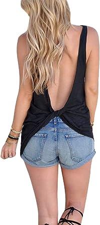 Camiseta Sexy De Verano para Mujer Camiseta Sin Mangas Sin Espalda Camiseta Top: Amazon.es: Ropa y accesorios