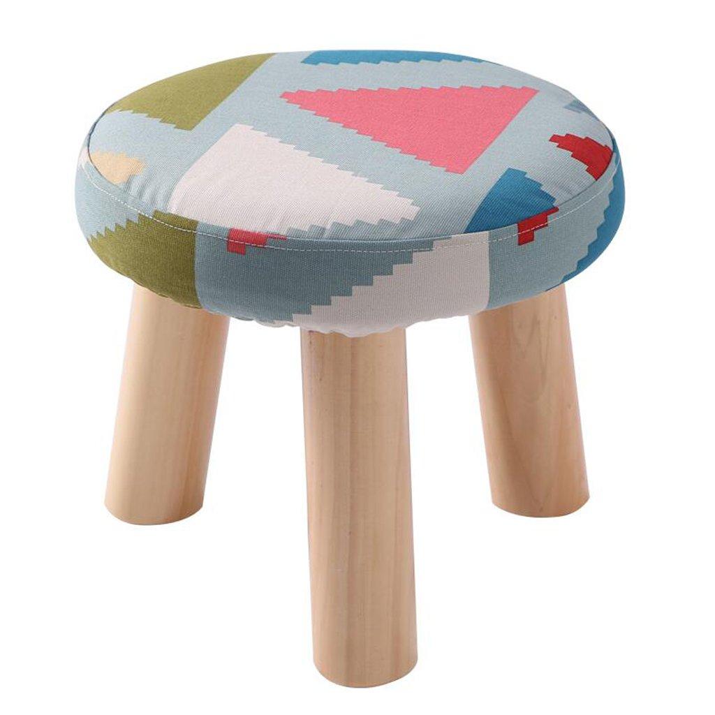 Silla Rollsnownow Patrón de triángulo Colorido de Tres Patas Taburete de algodón de Lino de Tela Redonda Zapato Zapatos hogar Lavable (28  28  25 cm)