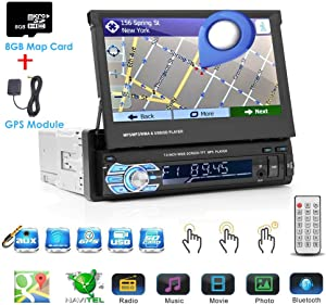 Binize Wince 7 Inch HD Quad-Core 1 DIN Single DIN Car Stereo Radio Multimedia Player NO-DVD GPS Navigation in Dash FM Radio Bluetooth/USB/Mirror-link/8GB SD Card (1 DIN Wince GPS)