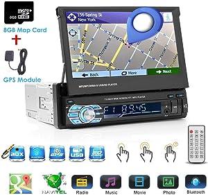 Binize Wince 7 Inch HD Quad-Core 1 DIN Single DIN Car Stereo Radio Multimedia Player NO-DVD GPS Navigation in Dash FM Radio Bluetooth/USB/Mirror-link/8GB SD Card (1 DIN Wince GPS)