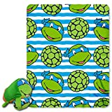 Northwest Nickelodeon Teenage Mutant Ninja Turtles, Mushy Leo 12'' by 8'' Mush'Um Character with Zipper Pocket and 40'' by 50'' Fleece Throw Set by The Company