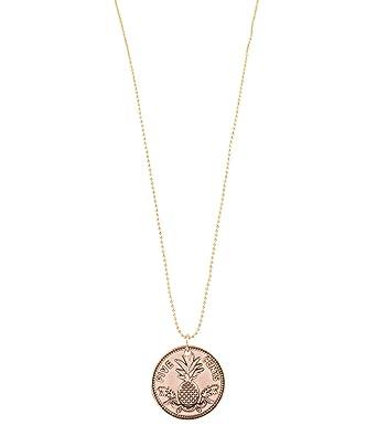 Six Sommer Damen Halskette Lang Münzen Anhänger Ananas Gold
