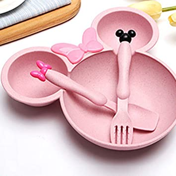 Baby Tableware Set Wheat Straw Bowls Infant Feeding Plate With Fork Spoon Childr Baby