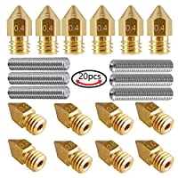 AIKEER 14Pcs 3D Printer Nozzles M6 Brass Extruder Nozzle Print Heads (2Pcs 0.2mm + 6Pcs 0.4mm + 2Pcs 0.6mm + 2Pcs 0.8mm + 2Pcs 1.0mm) and 6Pcs 30MM Length Extruder 1.75MM Tube for MK8 Makerbot Reprap by AIKEER