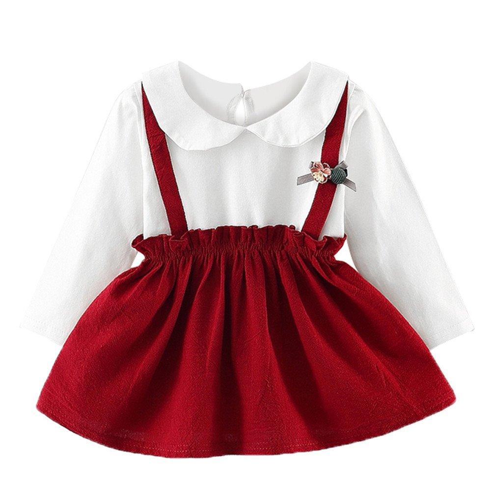 Togelei Neugeborenen M/ädchen Floral und Samtkleid Mode Pelz Weste zweiteilige wilde Prinzessin Kleid Baby M/ädchen Floral Faux Pelz Weste Prinzessin Kleid Set Warme Outfits