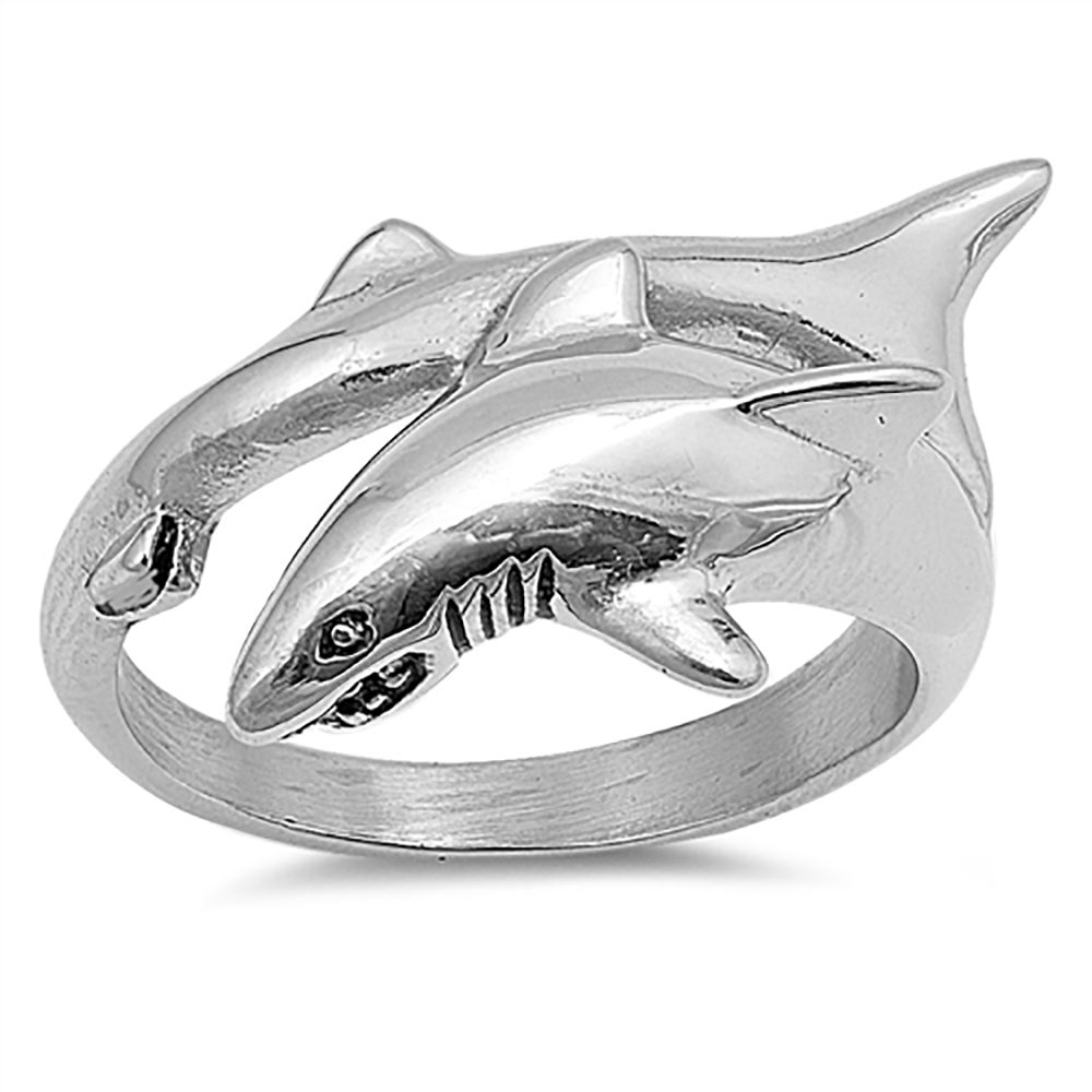 Stainless Steel Shark Ring - Size 10