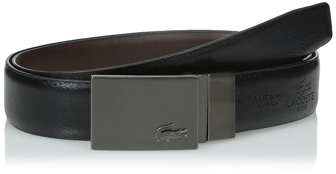eda437d052 Lacoste Men's Classic Premium Reversible Leather Belt with Gun Metal ...