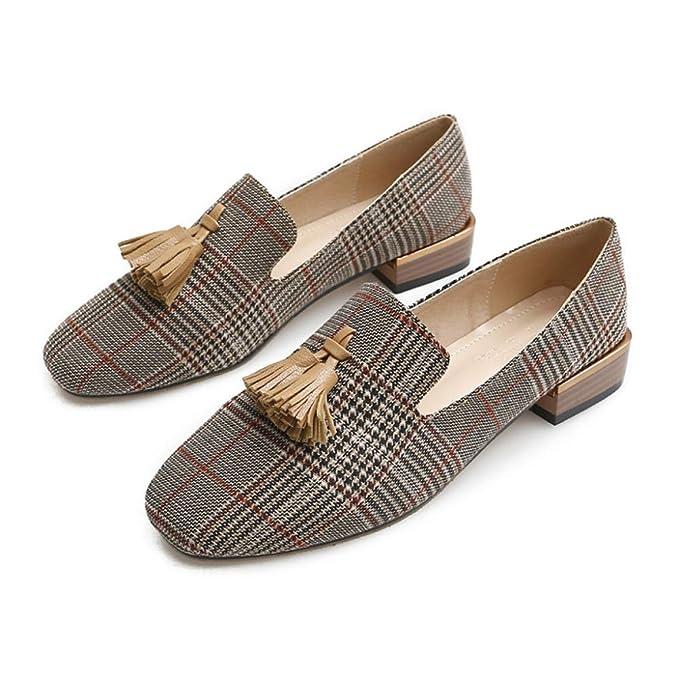 RegbKing Zapatillas De Deslizamiento Para Mujer Con Borlas Planas Zapatillas Para Mujer Con Forma De Cabeza Cuadrada Mocasines Cómodos Zapatos Perezos: ...