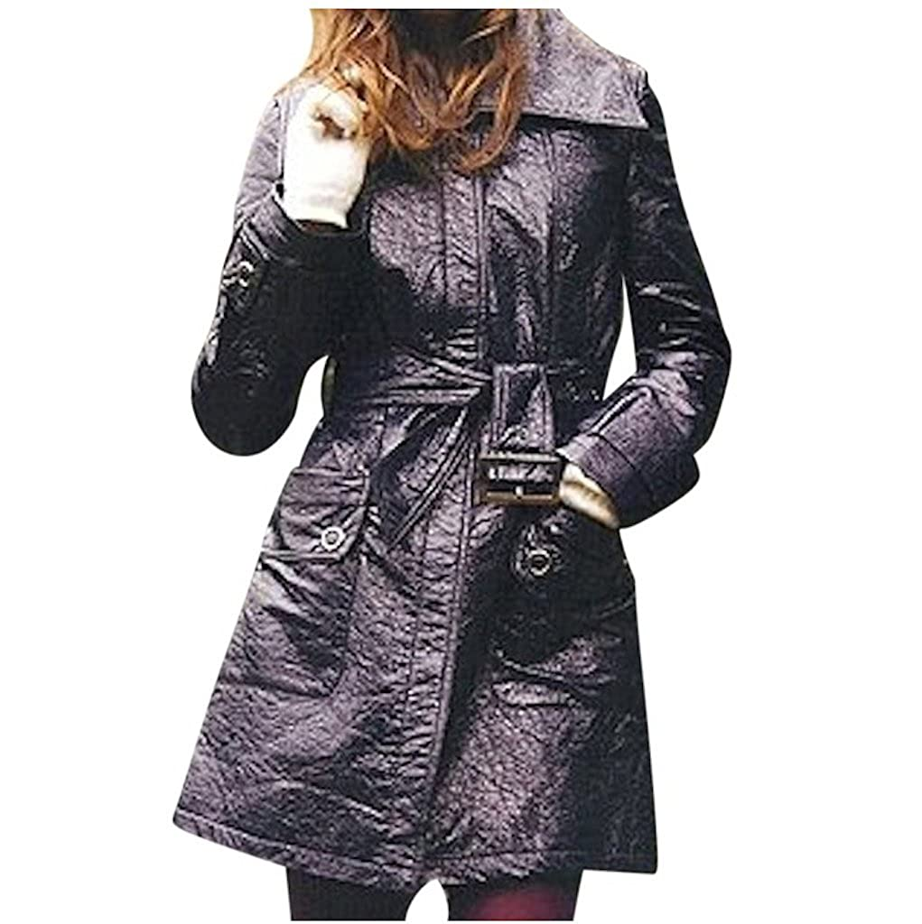 c819231f1d73 Star-Studded Crushed Faux Patent Leather Trench (m