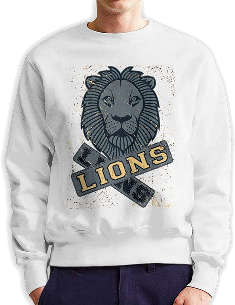 Dydelao Thai Lion Guard Mens Crew Neck Pullover Long Sleeves Warm and Comfortable Casual