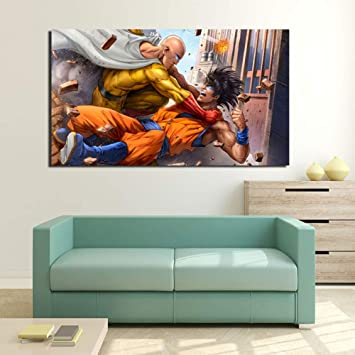 tzxdbh One Punch Man VS Goku Anime Japanese Cartoon HD Canvas Painting Print Sala de Estar Decoración para el hogar Modern Wall Art Pintura al óleo Poster: Amazon.es: Hogar