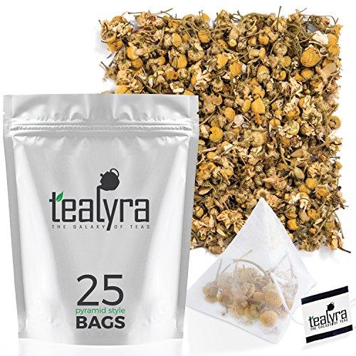 Tealyra - Egyptian Chamomile Tea Pyramids Bags - Herbal Tea - Bedtime Tea - Anxiety and Stress Relief - Organically Grown - 25 Sachets (Net. 1.5oz)