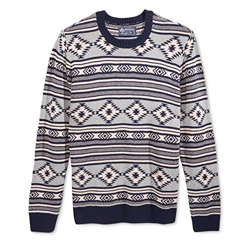 (American Rag Mens Ribbed Trim Printed Pullover Sweater Navy S)
