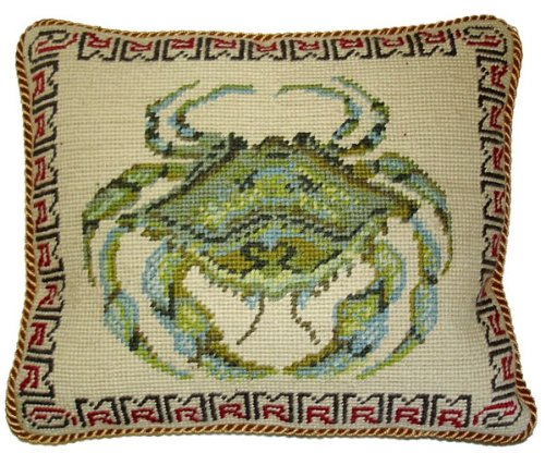 Deluxe Pillows Green Crab - 10 x 12 in. needlepoint pillow