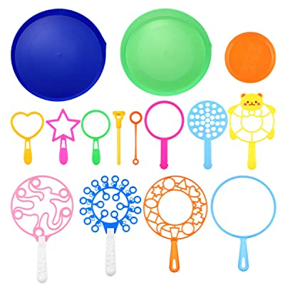LIOOBO 15PCS Blowing Bubble Blowers Ring Toys Bubble Wand Sets Bubble Makers Toys for Kids Boys Girls,Random Color: Sports & Outdoors