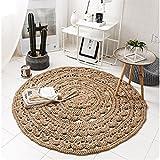 ZGP Interior carpet Round Rug, Natural Jute Hollow Round Rug Simple Hand-woven Bedside Blanket Bedroom blanket (Color : D, Size : ROUND-150cm)
