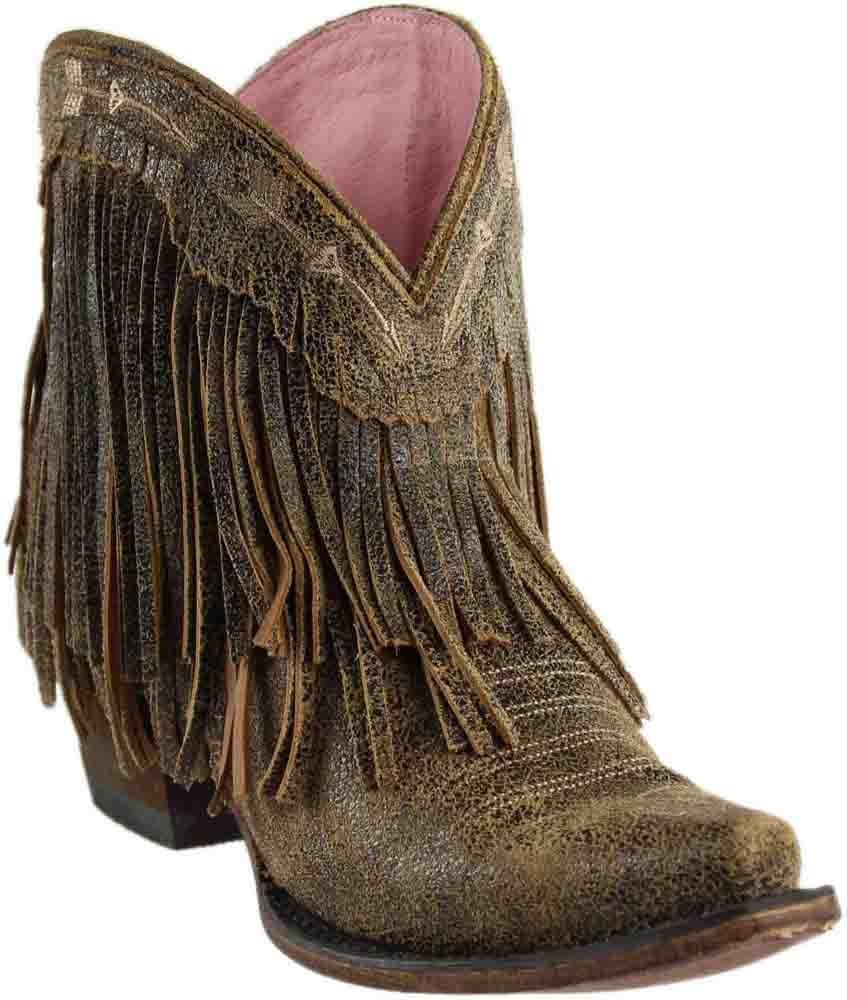 Junk Gypsy Western Boots Womens Spitfire Leather Fringe JG0007H B0733ZP9HF 6.5 B(M) US|Black Tan