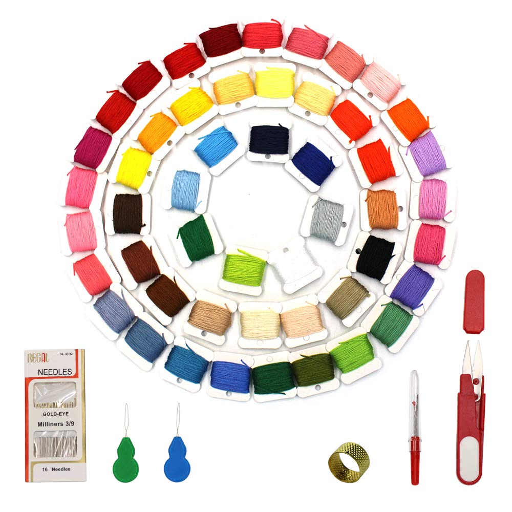 100%Cotton Embroidery Floss with Organizer Storage Box - Friendship Bracelets Floss Crafts Floss and Plastic Floss Bobbins Cross Stitch Kits Md trade