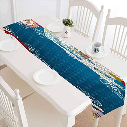 Amazon Com Lcggdb Modern Table Runner Dresser Scarf Japanese Contemporary Artful With Flowers Hand Fans On Blue Backdrop Print Dining Room Rectangular Runner 12x36 Inch For Special Occasions Or Dinner Parties Home Kitchen