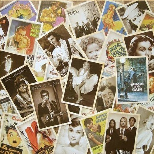 Vovii 32 pcs Classic movie star Assembly Postcards Retro Nostalgia Post Card Postcards for Worth Collecting 1 set